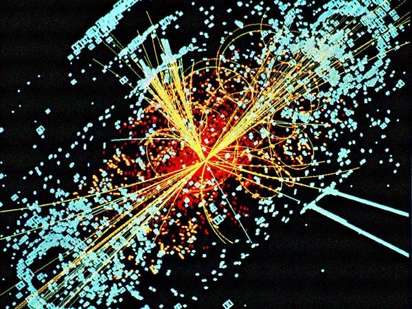 Точка столкновения в детекторе на большом адронном коллайдере
